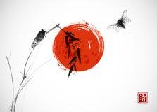 两只蝉、大红色太阳和竹子分支 传统东方墨水绘画sumi-e, u罪孽,去华 象形文字- 库存例证