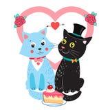 两只逗人喜爱的传染媒介猫 与逗人喜爱的猫的卡片设计元素 背景看板卡图画邀请向量婚礼白色 免版税库存照片
