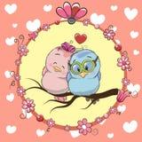 两只逗人喜爱的动画片鸟 皇族释放例证
