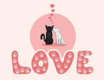 两只逗人喜爱的猫亲吻 向量例证