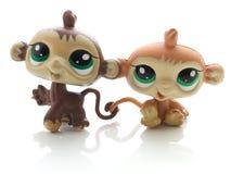 两只逗人喜爱的猴子 免版税库存图片