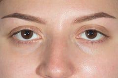 两只闭合的眼睛完善眼眉 免版税库存照片