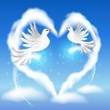 两只鸠在天空和心脏 免版税图库摄影