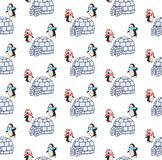 两只Xmas企鹅和园屋顶的小屋的样式 免版税库存图片