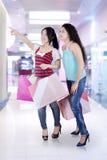 两可爱的女孩在购物中心 免版税图库摄影