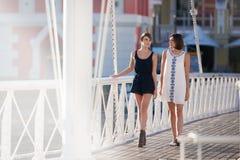 两可爱的妇女走和谈话在桥梁户外 图库摄影