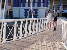 两可爱的妇女走和谈话在桥梁户外 免版税图库摄影