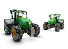 两台现代绿色农用拖拉机  库存照片