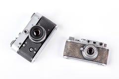 两台老照片照相机,顶视图 免版税图库摄影