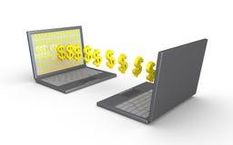 两台膝上型计算机调动金钱 免版税库存图片