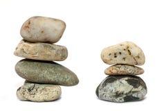 两各种各样的石头堆  库存图片