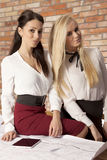 两名女实业家在办公室与膝上型计算机一起使用 免版税库存图片