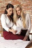 两名女实业家在办公室与膝上型计算机一起使用 库存照片