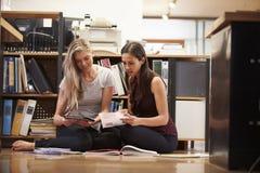 两名女实业家坐与数字式片剂的办公室地板 库存照片