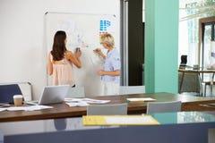 两名女实业家开创造性的会议在办公室 图库摄影