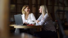 两名妇女业务会议在咖啡馆 股票录像