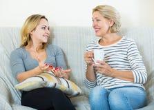两名妇女喝茶和谈话在国内内部 免版税库存图片