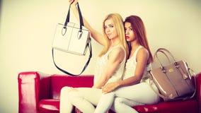 两名妇女坐提出袋子的沙发 免版税库存图片