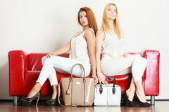 两名妇女坐提出袋子的沙发 图库摄影