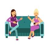 两名妇女坐谈和吃蛋糕例证的沙发 向量例证