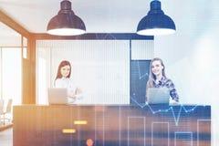 两名妇女站立在招待会的在办公室,图表 免版税库存照片