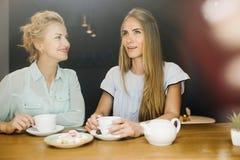 两名妇女说闲话在一次会议上在咖啡馆 免版税图库摄影