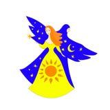 两名妇女,日夜,太阳、月亮和星 向量手拉的例证 皇族释放例证