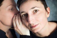 两名妇女说闲话 库存图片