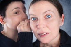 两名妇女说闲话 免版税库存照片