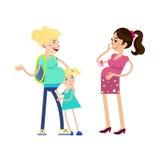 两名孕妇和孩子 免版税图库摄影