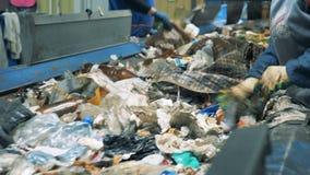 两名工作者排序继续前进传动机的垃圾在一个回收厂 股票视频