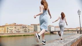 两名年轻可爱的妇女和沿遏制的跳舞由河负责 股票视频