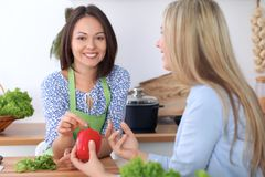两名年轻愉快的妇女在厨房里烹调 朋友获得乐趣,当preapering健康和鲜美膳食时 免版税库存照片