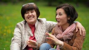 两名微笑的深色的妇女谈互相坐毯子在野餐期间在公园 画象  影视素材