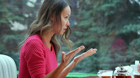两名恼怒的妇女谈话在一杯茶 库存照片