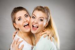 两名愉快朋友妇女拥抱 免版税库存图片