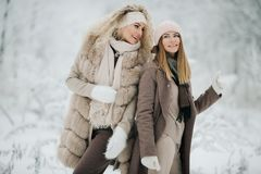 两名愉快的白肤金发的妇女画象帽子的在步行在冬天森林里 库存照片