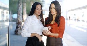 两名相当时髦妇女读sms 免版税库存照片