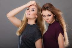 两名美丽的妇女,金发碧眼的女人和深色摆在 免版税库存图片
