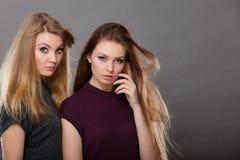 两名美丽的妇女,金发碧眼的女人和深色摆在 库存图片