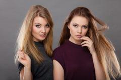 两名美丽的妇女,金发碧眼的女人和深色摆在 免版税图库摄影