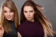 两名美丽的妇女,金发碧眼的女人和深色摆在 库存照片