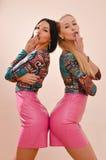 两名美丽的白肤金发&深色的时尚年轻性感的妇女获得摆在同样礼服&看在桃红色墙壁上的乐趣照相机 库存图片