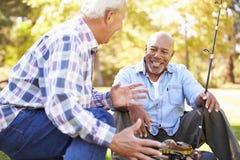 两名老人与钓鱼竿的野营假日 免版税库存图片
