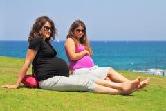 两名迷人的年轻孕妇 库存照片