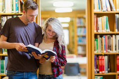 两名年轻学生阅读书在图书馆里 免版税库存图片