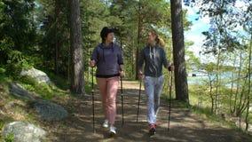 两名活跃妇女做走在公园的北欧 跟踪射击 慢的行动 股票视频