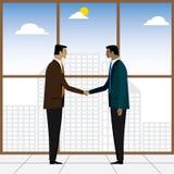 两商人或董事握手合作的-传染媒介 皇族释放例证