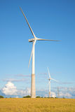 两在夏天领域的风电发电器 爱沙尼亚 库存图片