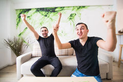 两在客厅激发看在线的朋友或室友电视在家坐一个长沙发 库存图片